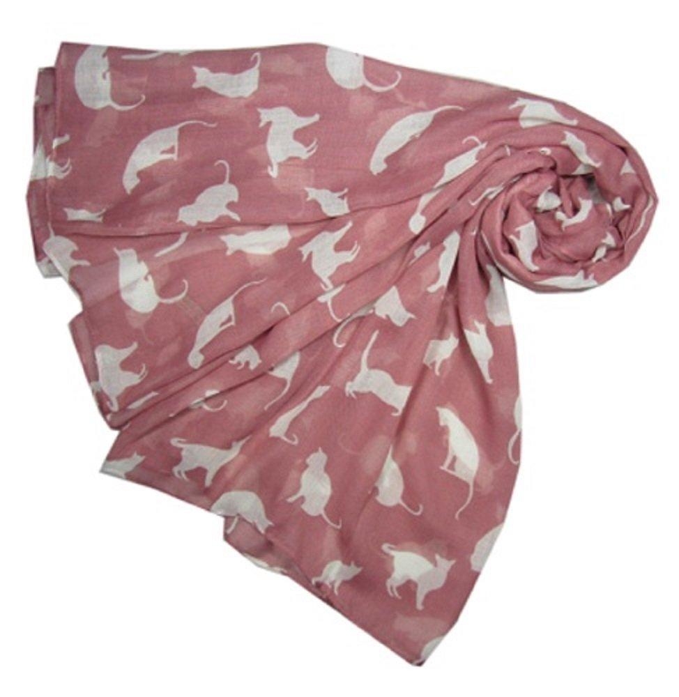 Rosa con la bufanda del diseño del gato blanco. señoras suaves larga bufanda. Moda de Londres. -- Pi...