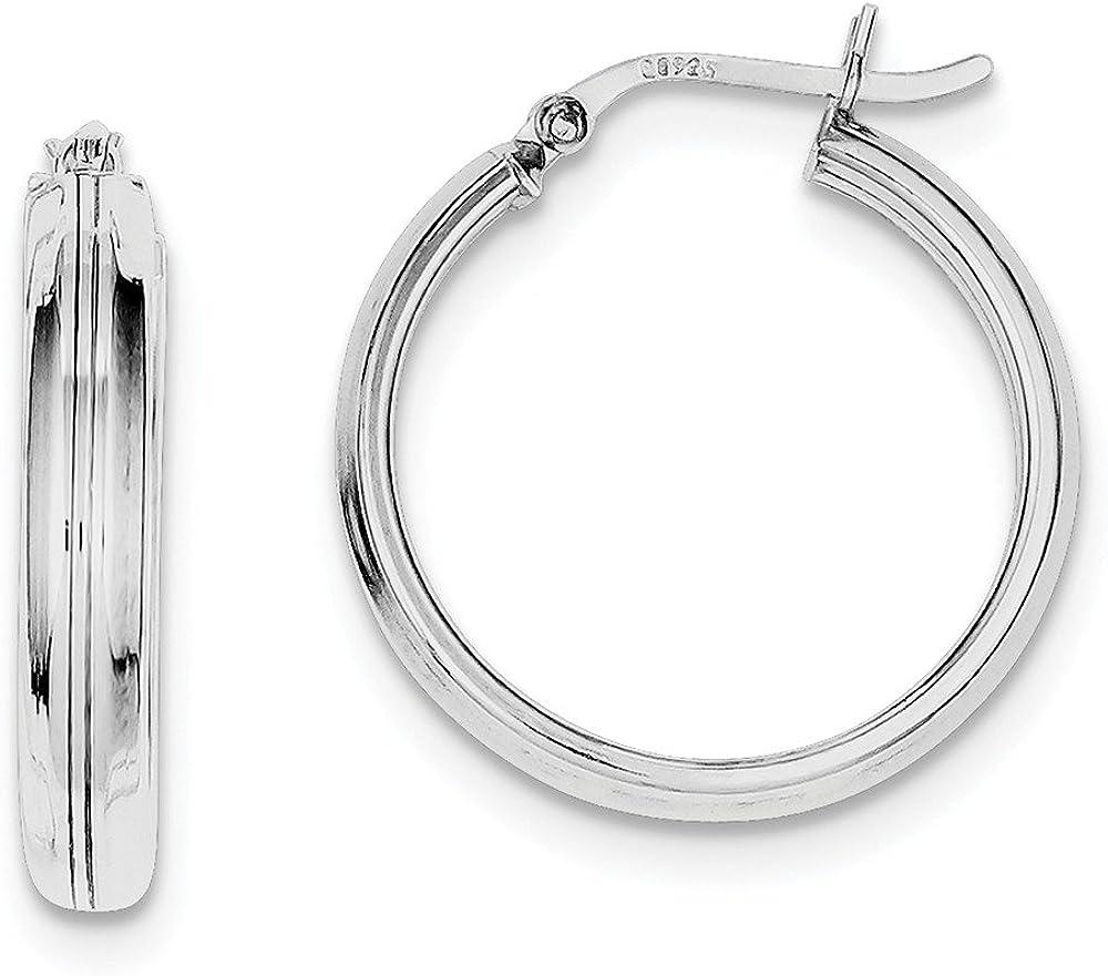 925 Sterling Silver Rhodium Plated 4.5mm Hoop Earrings