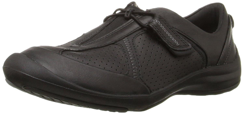 CLARKS Women's Asney Slipon Fashion Sneaker B0195GUFUO 10 B(M) US|Black Leather