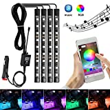 #9: AMBOTHER 4x Car LED RGB Music Interior Atmosphere Floor Underdash Lighting RGB Music Control Strip Lights Kit Multicolor APP Bluetooth Controller for iPhone Android