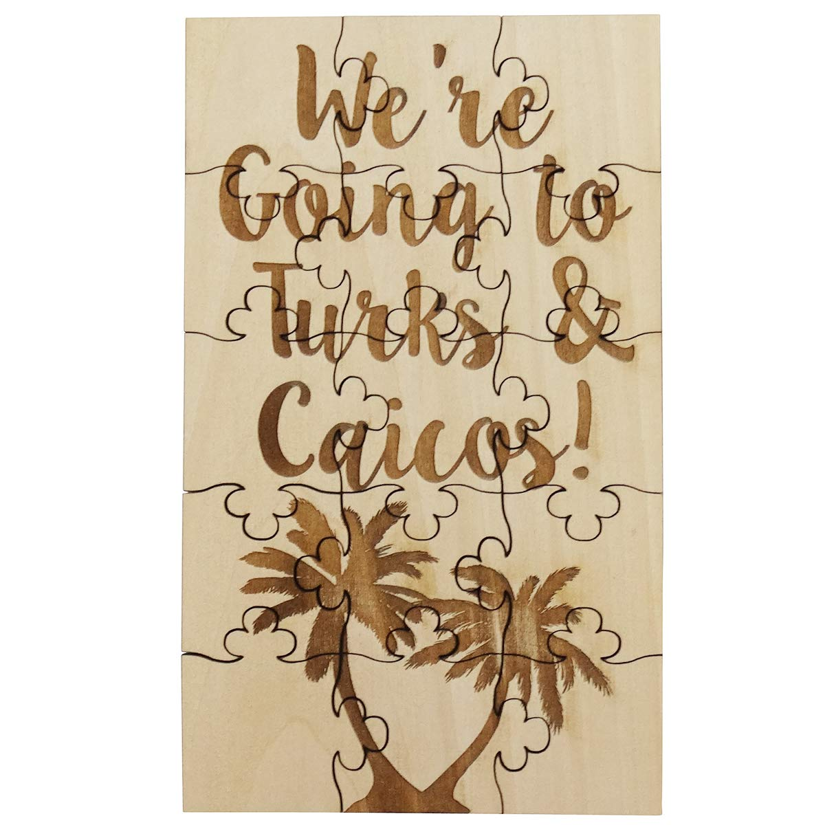 Surprise Vacation Trip Reveal FashionJunkie4Life WD01CB 15 Piece Basswood Jigsaw Puzzle Were Going To Turks and Caicos