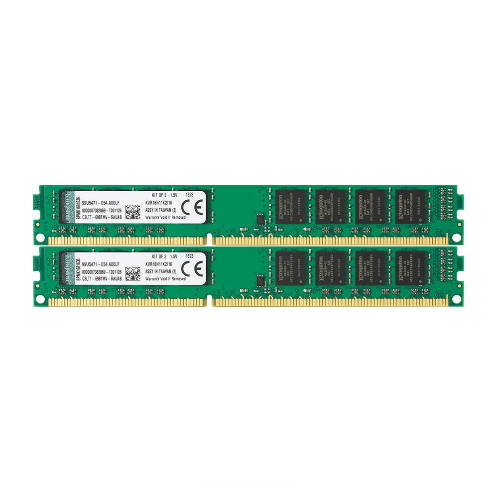 Memoria Ram 16gb Kingston Technology Non-ecc Cl11 Dimm 1600mhz Ddr3 (kvr16n11k2/16) - Kit Of 2
