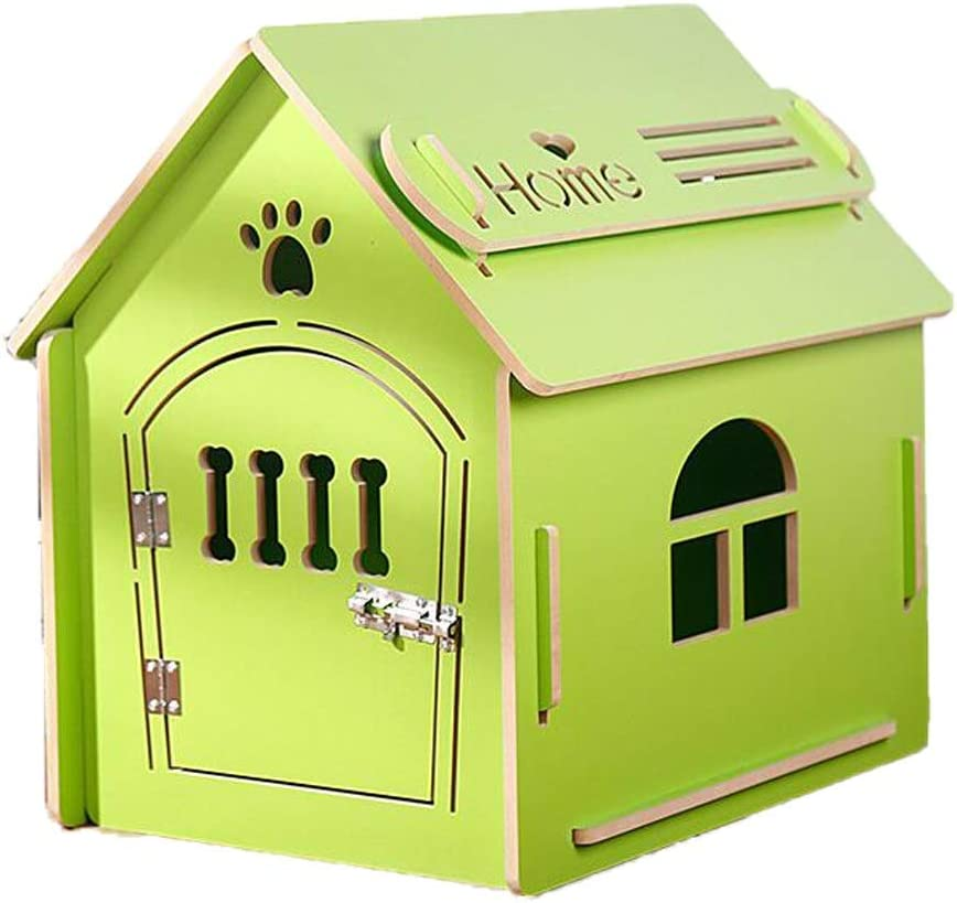 Pet House Puppy House Wooden Little Dog House Pet Home Indoor/Outdoor Wood Cat House Wooden Pet House with Wooden Small Door Light Green