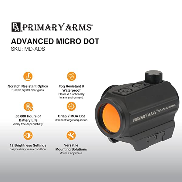 Primary Arms 2 MOA Advanced Micro Red Dot (MD-ADS) Riflescope (angled front lens), Black review