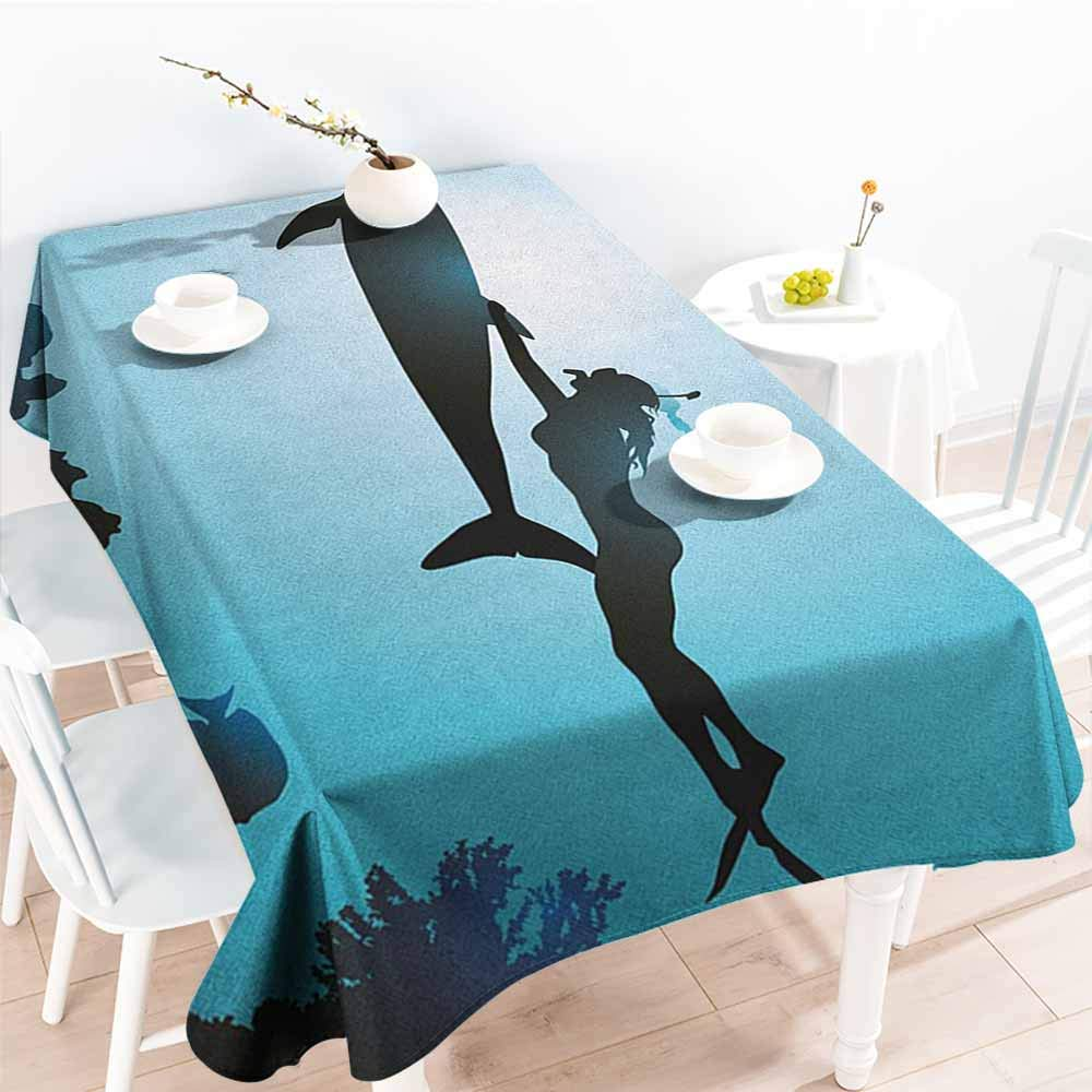 EwaskyOnline Washable Tablecloth,Dolphin Scuba Diver Girl Swimming with Dolphin Silhouette in Sea Fish Reefs Image,Modern Minimalist,W60x84L, Pale Blue Black by EwaskyOnline