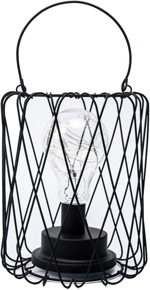 Lámpara de mesa de alambre LED Operado con pilas Metal vintage Jaula industrial Luz de escritorio Lámpara de mesa de noche Lámpara de mesa de Hierro Alambre de arte Blanco cálido (C)