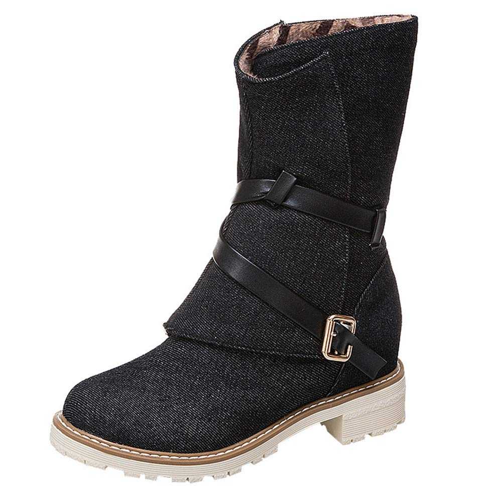 Wadonerful Women Canvas Boots Round Toe Chunky Wedges Heel Booties Buckle Cross Strap Demin Boot Middle Tube Work Shoes Black by Wadonerful-Boots