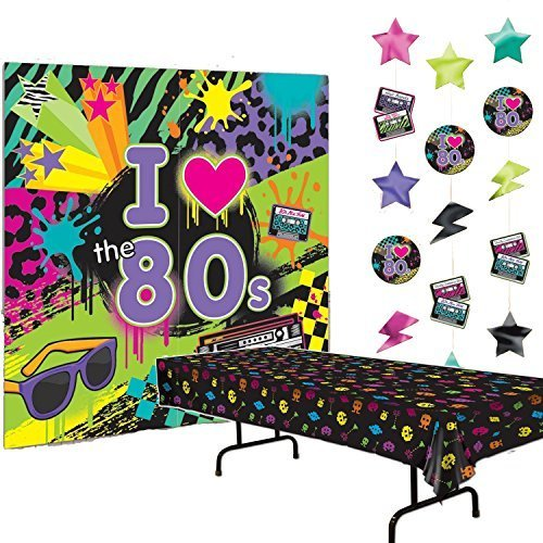 Multiple 80s Party Decorations Bundle of 3 - Plastic Tablecover, Giant Wall Scene Setter and String Decorations -