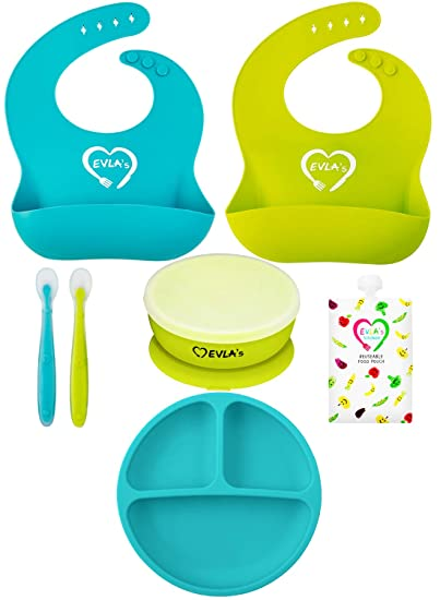 Silicone Bib and Suction Bowl with Silicone Spoon BabyCorner Yellow Baby Feeding Set