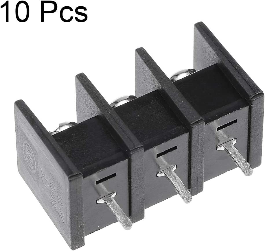 uxcell 20Pcs AC 300V 25A 10mm Pitch 3P Flat Angle Needle Seat Fence Type Terminal