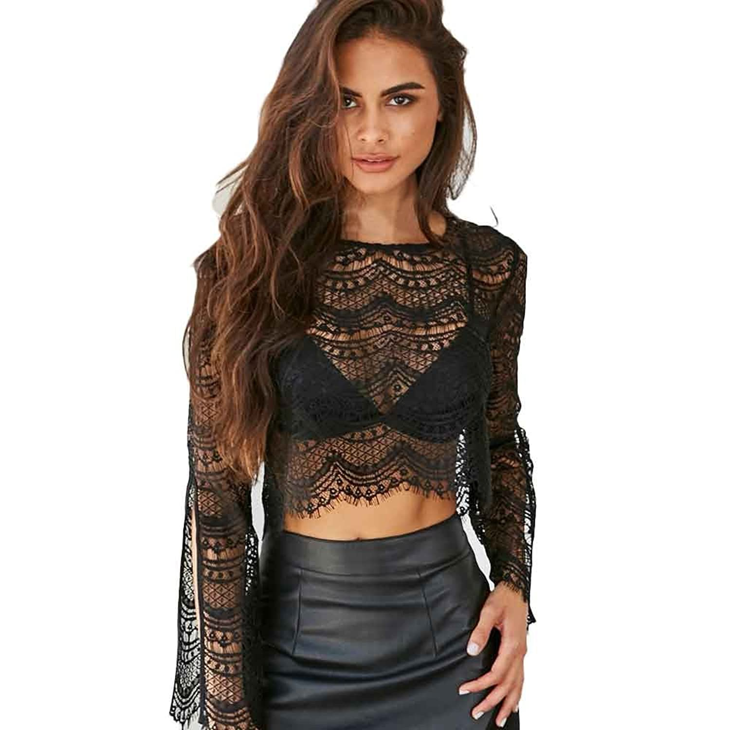 Kinghard Women Lace Tank Top Summer Sexy Hollow Out Long Sleeve Top