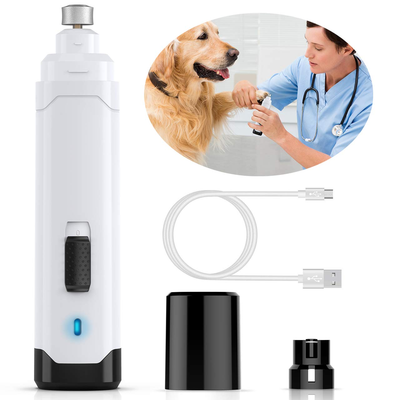 oneisall 2 Speed Powerful Dog Nail Grinder, Rechargeable Wireless Cat Nail Clippers Trimmers Drill Pet Grooming Tool for Small Medium Large Dogs Paws, with USB Charging Cable