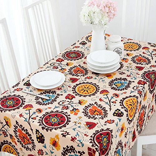 Jhxena Stile Giapponese Tovaglia Biancheria di Cotone Cafe E Tavolo da tè Panno di Copertura, Arancione 140  180Cm