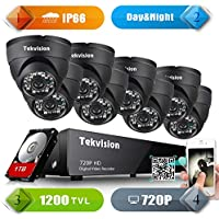 Tekvision 8 CH 720P H.264 AHD Real Time Surveillance DVR Kit, 8Pack 24 LED Day/ Night Vision IR- Cut IP66 Waterproof Full Metal Dome Camera, 1TB HDD Hard Drive pre-installed