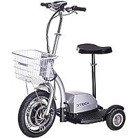 Lunex Scooter eléctrico Scooter Scooter 3 Wheeler Trike Cesto Adulto Asiento 16 km/h (Plateado)