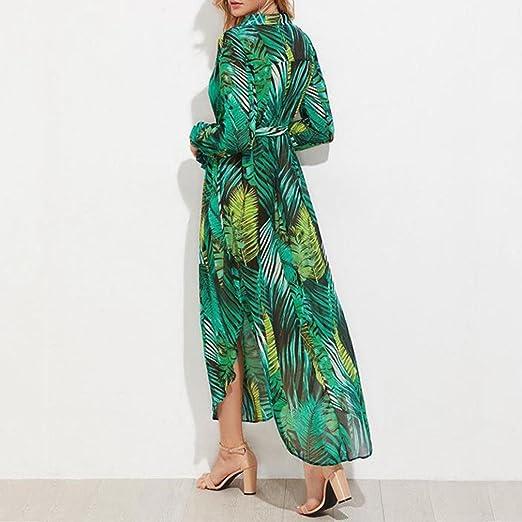 Amazon.com: Mujer Impresión De Hojas de plátano de moda gasa ...