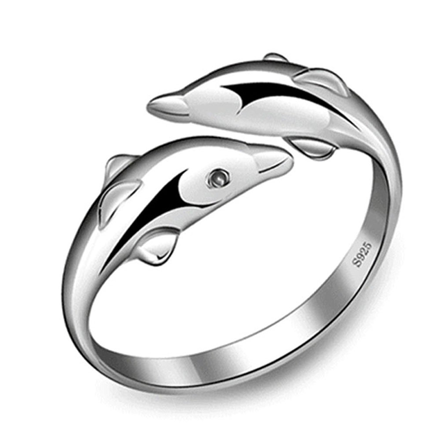 New Fashion 925 Sterling Silver Double Dolphin Opening Adjustable Rings Gift New Anik Sunny