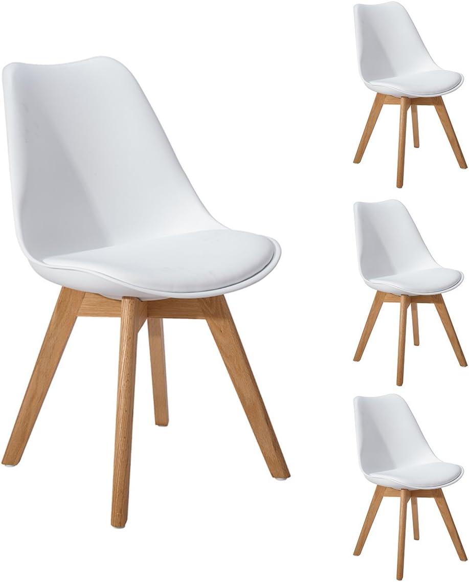DORAFAIR Pack 4 sillas escandinava Estilo nórdico Silla de Comedor, con Las piernas de Madera de Roble Maciza y cojín cómoda,Blanco