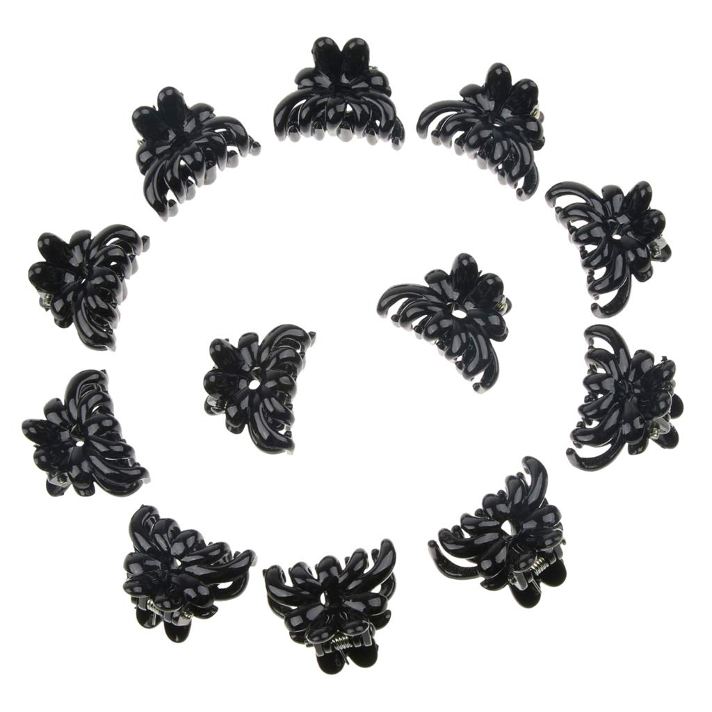 Baoblaze 12 Pieces Girls Classic Mini Hair Claws Grips Plastic Clip Clamps Pins Accessories - Black, as described