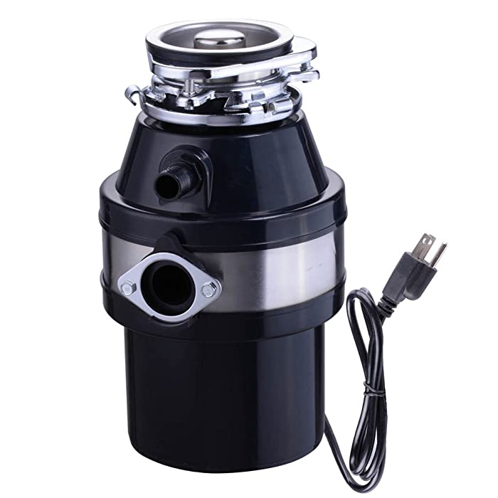 Yescom 1 HP 2600 RPM Continuous Feed Household Plug In Garbage Disposer for Kitchen Waste Disposal Operation Black