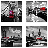 SpecialArt Shuttle Bus on London Bridge Black and White Landscape Painting Canvas Wall Art for Modern Home Decor 12x12inches 4pcs/set