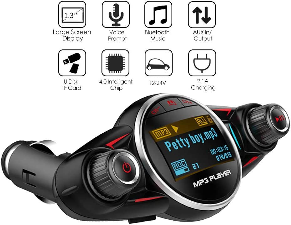 EinCar Newest Bluetooth Car Radio Transmitter FM Audio Adapter Car MP3 Player Handsfree Car Kit Support SD Card USB AUX Input Crystal Sound Color Light EQ Setting Auto Memory Remote Control Included