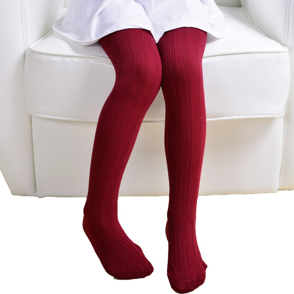 Monvecle Girls' Thick Cotton Stockings Socks Stretch Cable Knit Footed Tights