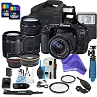 Canon EOS 80D DSLR Camera Bundle with + 2 PC 16 GB Memory Card + Camera Case + 18-55mm Lens + 75-300mm Lens + DigitalAndMore ULTIMATE BUNDLE for your creativity