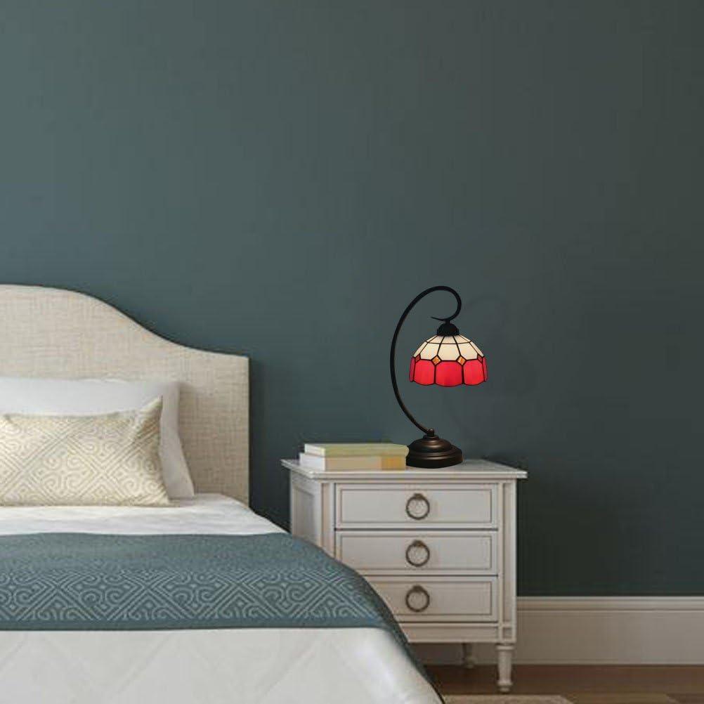 Odziezet Plafoniere Tiffany Vintage Pastorali di Vetro Macchiato Europea Mini Luce a Muro Illuminazione per Interni e Esterni Rosso- 7.4 Pollici Wh001-r-20