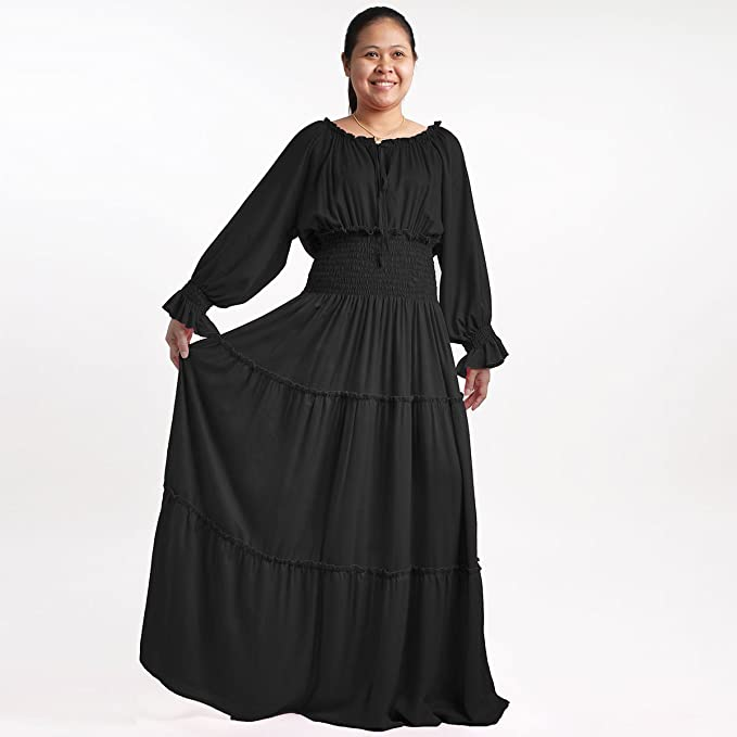 Plus Size Smocked Peasant Maxi Long Dress - MD0901-Black at ...