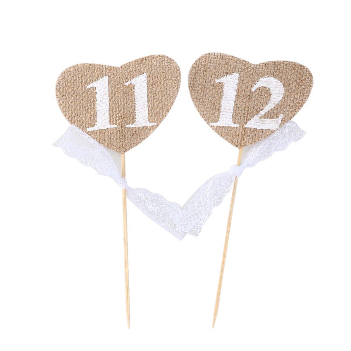 OULII N/úmeros de mesa de boda 10pcs 20 11 coraz/ón forma Banner Decor con palo