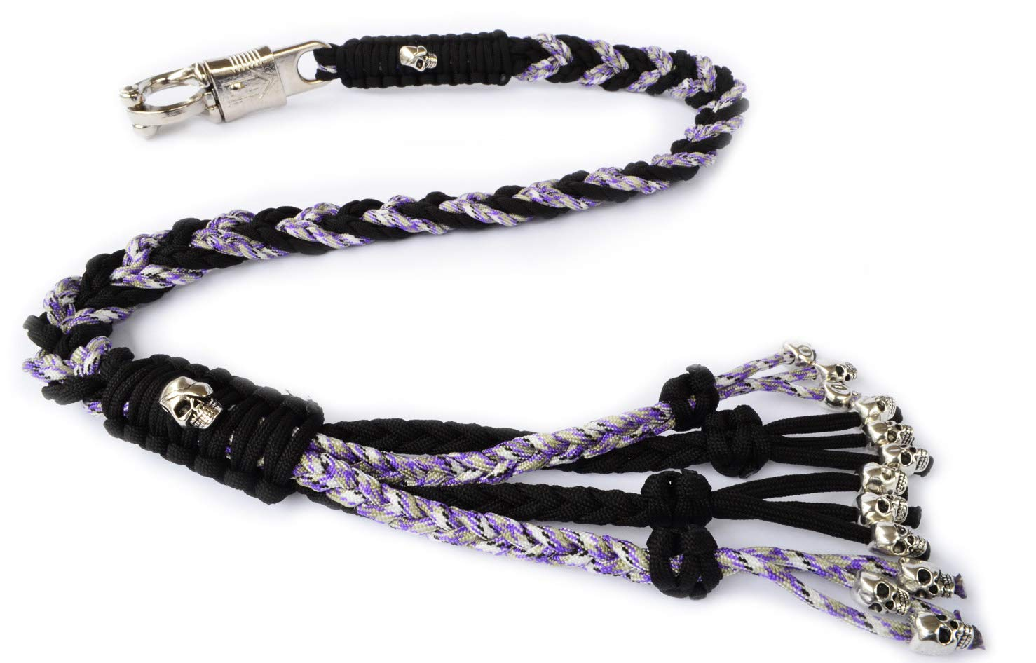 550 Paracord Motorcycle Whip Get Back Whip Metal Skulls 36'' - Mixed Purple/Black