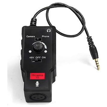 Nicama V2 Adaptador de Audio para micrófono y Guitarra con Amplificador de preamplificador Phantom Power para