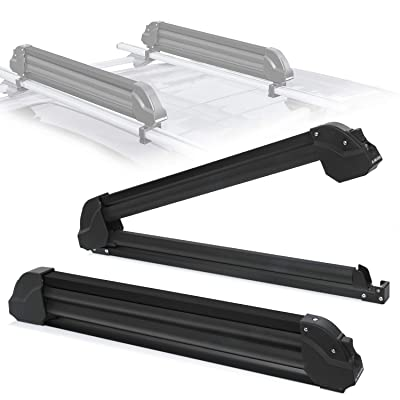 2PCS Aviation Aluminum Ski Roof Racks Compatible with Most Car Roof Rack Cross Bars Ski and Snowboard Car Racks Fits 4 Pairs of Skis Or 2 Snowboard