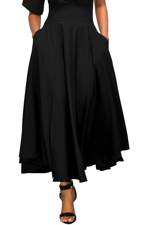 Vanbuy Women's High Waist Long Skirt Front Slit Pleated Midi Skirt with Pockets Z73-65053-Black-M