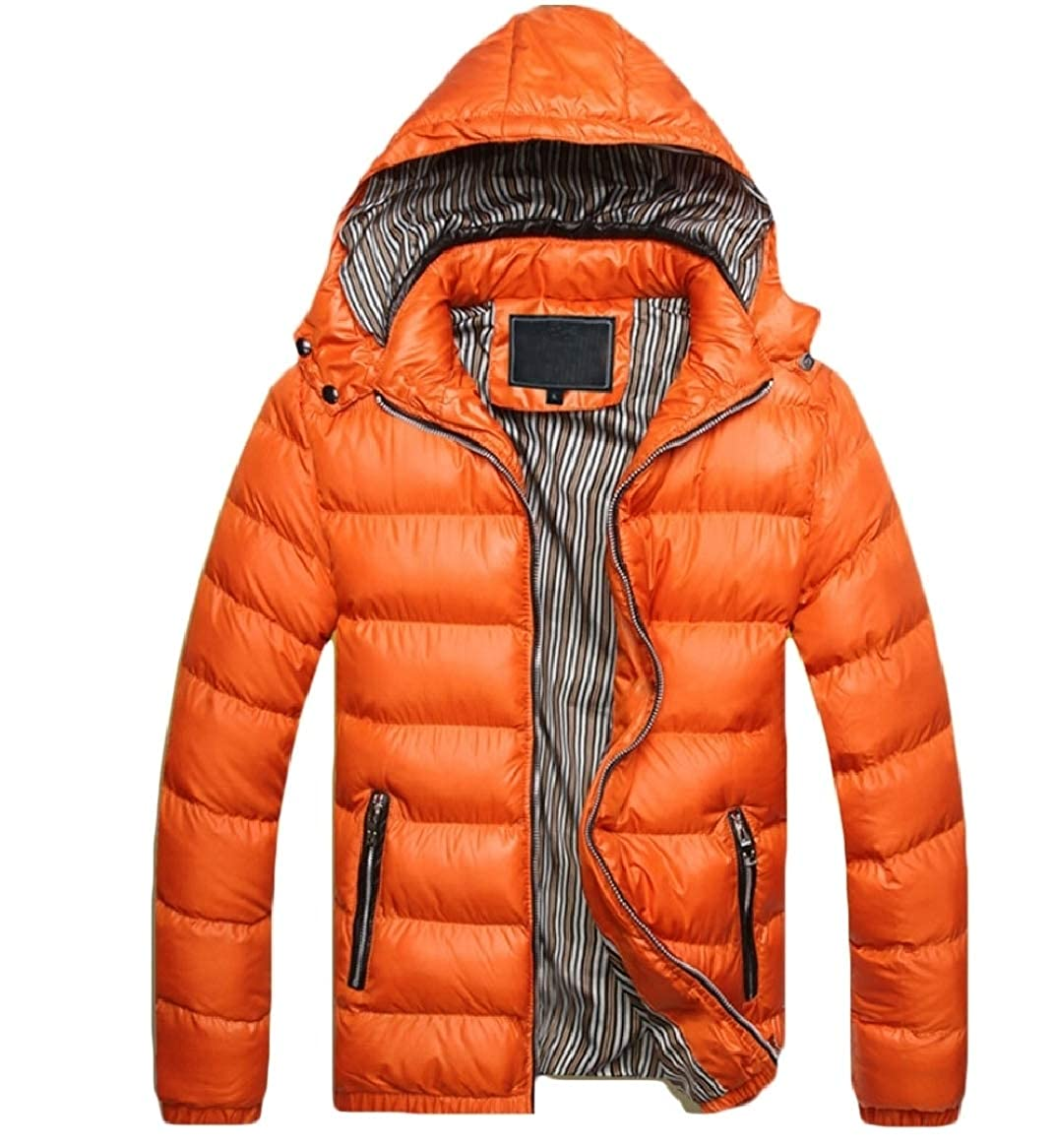 xiaohuoban Men Hooded Packable Winter Cotton Down Puffer Coat with Removable Hood