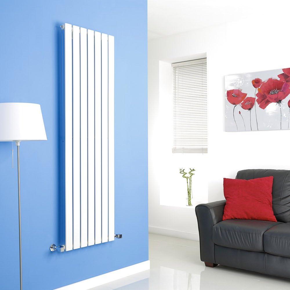 Hudson Reed Radiador de Diseño Moderno Vertical Delta - Radiador con Acabado Blanco - Paneles Planos - 1600 x 490mm - 1026W - Calefacción