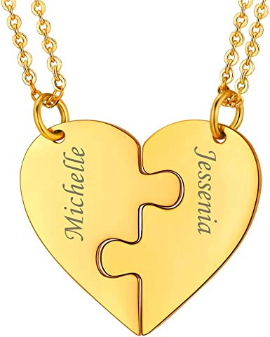 Amazon Com U7 Best Friend Necklace For 2 18k Gold Plated Split Heart Pendant Couple Set Custom Name Of 2 Bff Friendship Jewelry With Personalized Engrave Graduation Gift Clothing