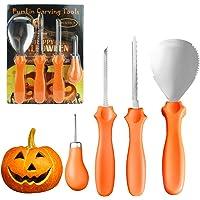 Halloween Pumpkin Carving Kit, Heavy Duty Stainless Steel Pumpkin Carving Tool Set 4 Pieces