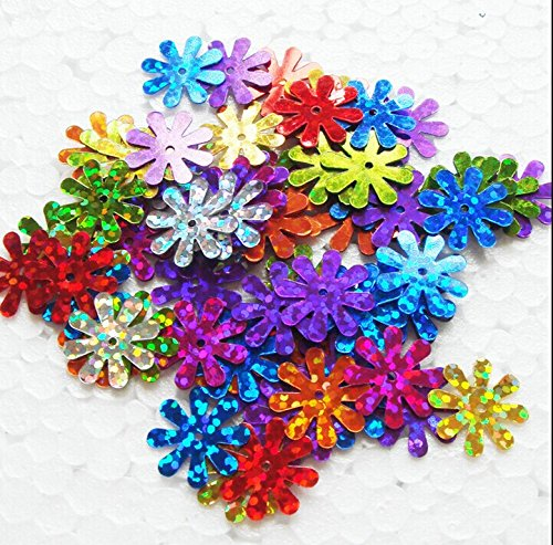 ZIJING 15mm Daisy Flower Shape Sequins Gold Silver Colors Red Blue Pink Purple Green Loose Sequins for Embroidery, Applique, Knitting, Arts, Crafts, and Embellishment