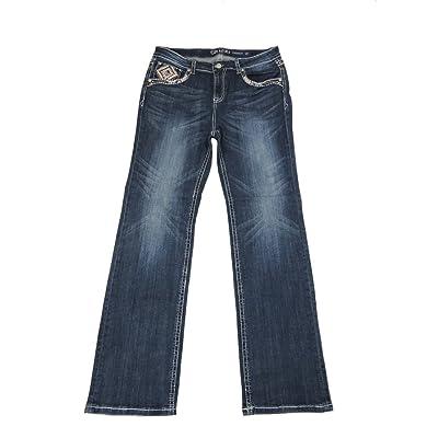 Grace L.A. Idol Women Plus Bootcut Jeans Mid Rise Aztec Bold Stitch Flap Stretch