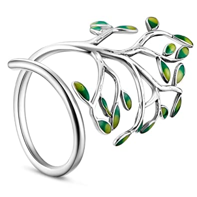 [Sponsored]Sweetiee 925 Sterling Silver Ring with Enamel Green Leaves Platinum 18mm for Woman b4FYWM