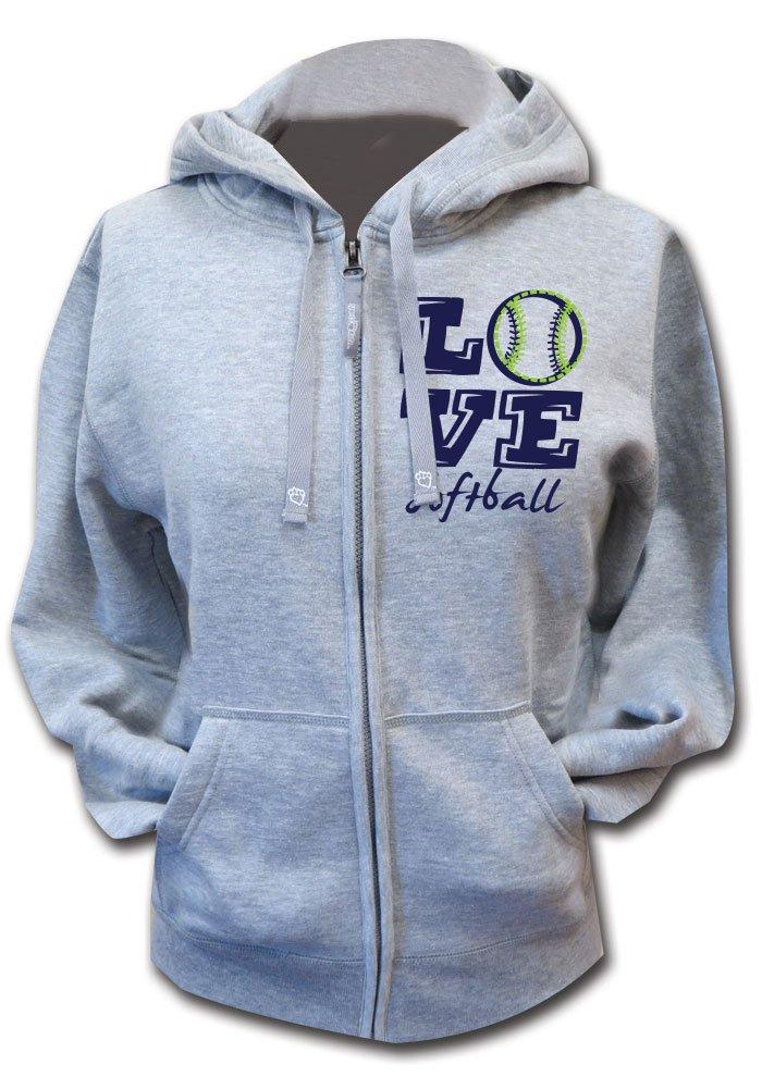 Sports Katz Big Girls 'Love' Softball Zip Hoodie Heather Gray Youth Medium
