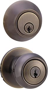 Amazon Basics Exterior Door Knob With Lock and Deadbolt, Coastal, Antique Brass