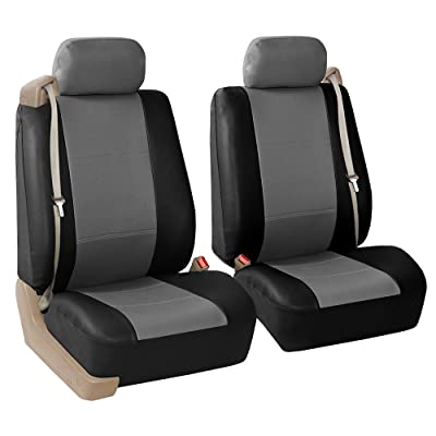 FH Group PU309GRAYBLACK102 Gray/Black Front PU Leather Seat Cover, Set of 2 (Built in Seat Belt Compatible Airbag Ready): Automotive