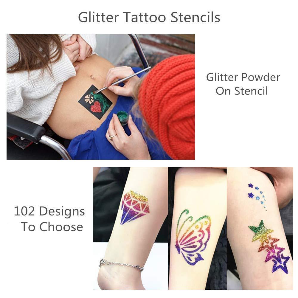 Veamor Henna Tattoo Stencil Kit Glitter Tattoo Kit Temporary Tattoos