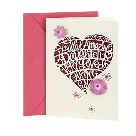 Amazon hallmark birthday greeting card for daughter heart hallmark birthday greeting card for daughter heart cutout bookmarktalkfo Image collections