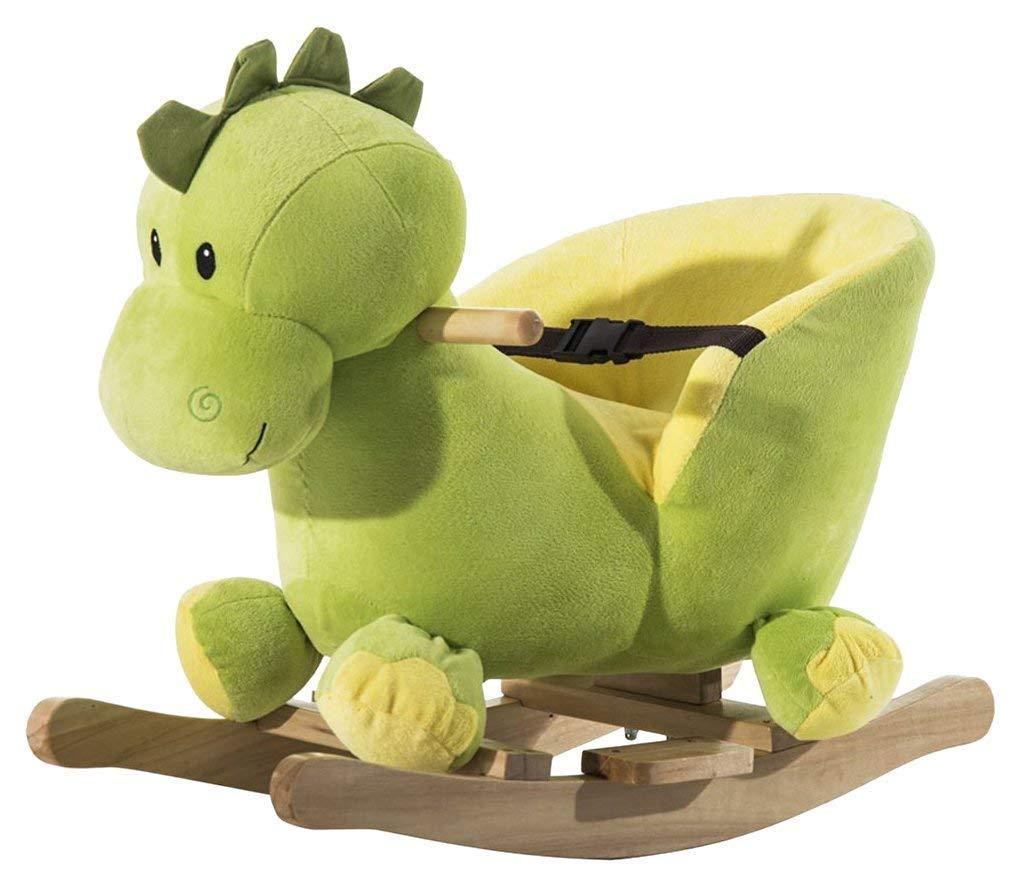 Homcom Schaukeltier Schaukelpferd Kinder Schaukel Drache Spielzeug mit Musik (Schaukeldrache)