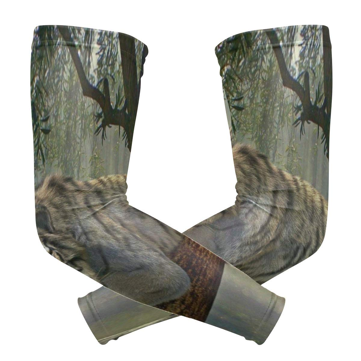 Arm Sleeves Tiger Animal Jungle Rainforest Exotic World Mens Sun UV Protection Sleeves Arm Warmers Cool Long Set Covers White