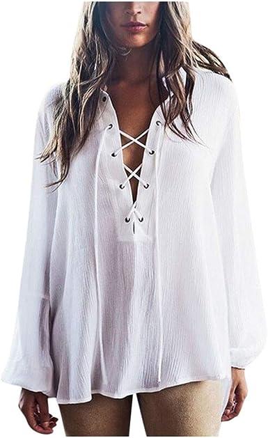 Loolik Camisa Mujer Color Sólido Cuello en V Cordón Flojo Manga Larga de Blusa y Top Shirt Otoño e Invierno Fiesta (Blanco, L): Amazon.es: Ropa y accesorios